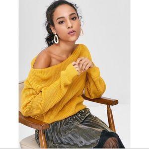 Zaful Relaxed Slash Neck Yellow Sweater